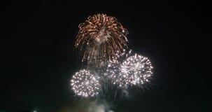 Explosion et lueur de feu d'artifice de célébration au-dessus de fond foncé avec l'obscurité et de grain traité clips vidéos