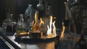 Explosion during the experiment. Unsuccessful experiment in the chemical laboratory. stock footage