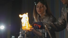 Explosion during the experiment. Unsuccessful experiment in the chemical laboratory. stock video footage