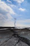 Explosion för Sidoarjo gyttjaflöde i Indonesien Arkivfoto