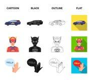 Explosion, feu, fumée et toute autre icône de Web dans la bande dessinée, noir, contour, style plat Superman, superforce, cri, ic illustration de vecteur