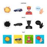 Explosion, feu, fumée et toute autre icône de Web dans la bande dessinée, noir, style plat Superman, superforce, cri, icônes dans illustration de vecteur