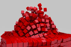 Explosion of field of red cubes. 3D render image Stock Photography
