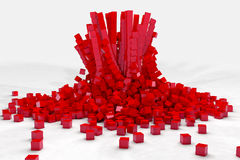 Explosion of field of red cubes. 3D render image Royalty Free Stock Images