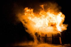 Explosion and fire in a barn Royalty Free Stock Photos