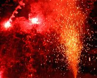 Explosion with fire in the night with smoke, sparks, light, blaz Stock Photography