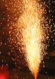 Explosion with fire in the night with smoke, sparks, light, fire Stock Photos