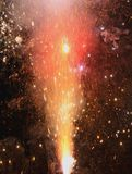 Explosion with fire in the night with sparks, light, fire, blaze Stock Photos