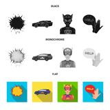 Explosion, fire, smoke and other web icon in black, flat, monochrome style.Superman, superforce, cry, icons in set. Explosion, fire, smoke and other  icon in Royalty Free Stock Photos