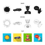 Explosion, fire, smoke and other web icon in black,flat,outline style.Superman, superforce, cry, icons in set collection. Explosion, fire, smoke and other  icon Stock Photos