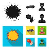Explosion, fire, smoke and other web icon in black,flat style.Superman, superforce, cry, icons in set collection. Explosion, fire, smoke and other  icon in Royalty Free Stock Images
