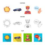 Explosion, fire, smoke and other web icon in cartoon,outline,flat style.Superman, superforce, cry, icons in set. Explosion, fire, smoke and other  icon in Stock Photos