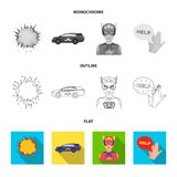 Explosion, fire, smoke and other web icon in flat,outline,monochrome style.Superman, superforce, cry, icons in set. Explosion, fire, smoke and other  icon in Stock Image