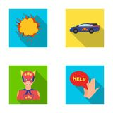 Explosion, fire, smoke and other web icon in flat style.Superman, superforce, cry, icons in set collection. Explosion, fire, smoke and other  icon in flat style Stock Photo