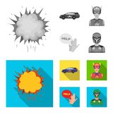 Explosion, fire, smoke and other web icon in monochrome,flat style.Superman, superforce, cry, icons in set collection. Explosion, fire, smoke and other  icon in Stock Image