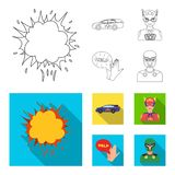 Explosion, fire, smoke and other web icon in outline,flat style.Superman, superforce, cry, icons in set collection. Explosion, fire, smoke and other  icon in Royalty Free Stock Photography