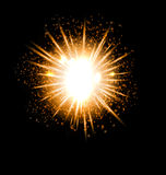 Explosion fireworks powerful bright ray. Explosion fireworks powerful golden dust party bright ray - vector Royalty Free Stock Images