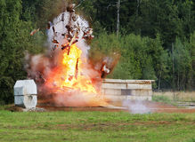Explosion a flame. Tests of shooting arms for range stock photo
