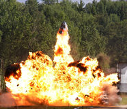 Explosion a flame. Tests of shooting arms for range stock images