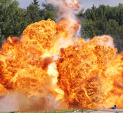 Explosion a flame. Tests of shooting arms for range royalty free stock photo