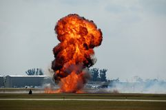 Explosion am Flughafen Stockfotos