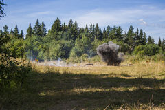 Explosion in forest Royalty Free Stock Image