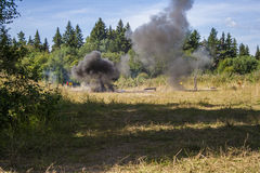 Explosion in forest Stock Image