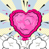 Explosion in form of heart in comic book style. Explosion in form of heart. Isolated retro style comic book background Stock Image