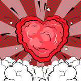 Explosion in form of heart in comic book style. Explosion in form of heart. Isolated retro style comic book background Royalty Free Stock Images