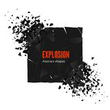 Explosion and fragmentation black square. Vector illustration isolated on white background.  Stock Images