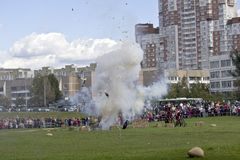 Explosion at the French battery. September 8, 2012, Moscow, Zhulebino area. History reconstruction show dedicated to 200 jubilee of the Borofino battle Royalty Free Stock Images