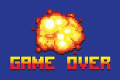 Explosion game over message pixel art style retro illustration Royalty Free Stock Photo