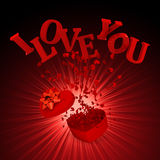Explosion gift. With i love you Stock Photography