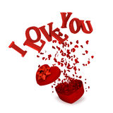 Explosion gift. With i love you Stock Image