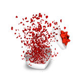 Explosion gift. With red hearts Royalty Free Stock Photo