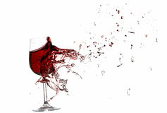 Explosion of a glass with red wine Stock Photography