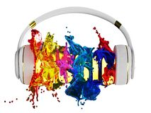 Explosion of glossy color paint from the headphones. blasted word music. each color is assigned path. the object retained its mask Royalty Free Stock Photo