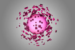 Explosion of glowing sphere into smaller pieces Royalty Free Stock Images