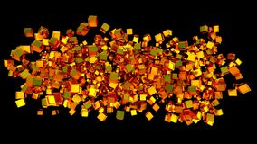 Explosion of gold cubes. Modern style decorative wallpaper. 3D rendered image Royalty Free Stock Image