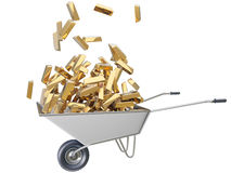 The explosion of gold. Render the explosion of gold in a wheelbarrow Royalty Free Stock Photo
