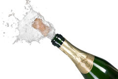 Explosion of green champagne bottle cork. On background Stock Photos
