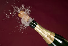 Explosion of green champagne bottle cork Stock Image