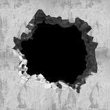 Explosion hole in concrete cracked wall. Industrial background Stock Image