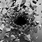 Explosion hole in concrete cracked wall. Industrial background Royalty Free Stock Photography