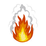 Explosion icon in cartoon style isolated on white background. Explosions symbol stock vector illustration. Royalty Free Stock Photo