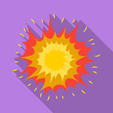Explosion icon in flat style isolated on white background. Explosions symbol stock vector illustration. Explosion icon in flat design isolated on white Royalty Free Stock Images
