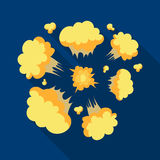 Explosion icon in flat style isolated on white background. Explosions symbol stock vector illustration. Explosion icon in flat design isolated on white Stock Photo