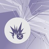 Explosion icon on purple abstract modern background. The lines in all directions. With room for your advertising. Illustration Royalty Free Stock Photography