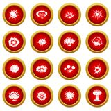 Explosion icon red circle set. Isolated on white background Royalty Free Stock Photos