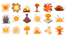 Explosion icon set, cartoon style. Explosion icon set. Cartoon set of explosion vector icons for web design isolated on white background Stock Images